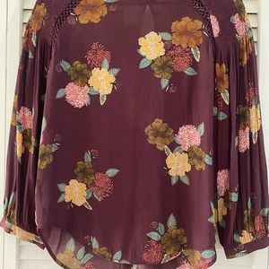 LOFT burgundy floral long sleeve shirt